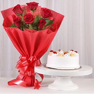 6 Kırmızı gül ve 4 kişilik yaş pasta  Bingöl Gölüm Çiçek çiçek , çiçekçi , çiçekçilik