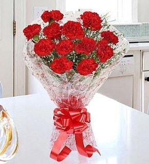 12 adet kırmızı karanfil buketi  Bingöl Gölüm Çiçek İnternetten çiçek siparişi
