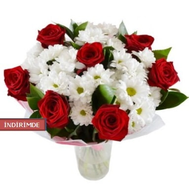 7 kırmızı gül ve 1 demet krizantem  Bingöl Gölüm Çiçek çiçek gönderme sitemiz güvenlidir