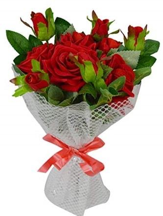 9 adet kırmızı gülden sade şık buket  Bingöl Gölüm Çiçek çiçekçi telefonları