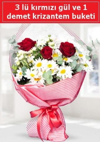 3 adet kırmızı gül ve krizantem buketi  Bingöl Gölüm Çiçek çiçek gönderme sitemiz güvenlidir