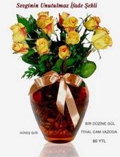 Bingöl Gölüm Çiçek internetten çiçek satışı  mika yada Cam vazoda 12 adet sari gül